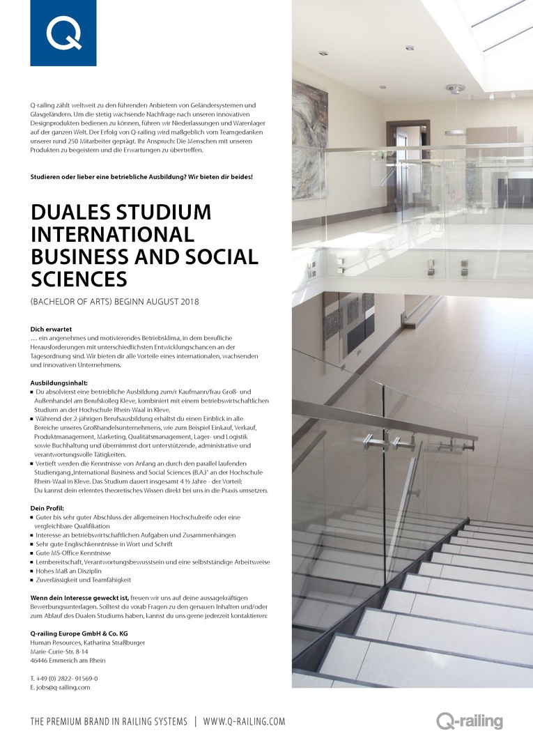 Duales Studium - International Business and Social Sciences (B.A.)