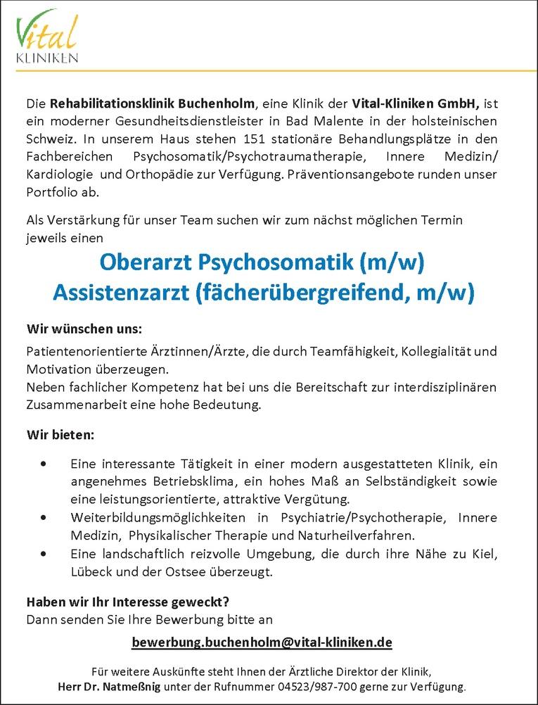 Oberarzt Psychosomatik (m/w)