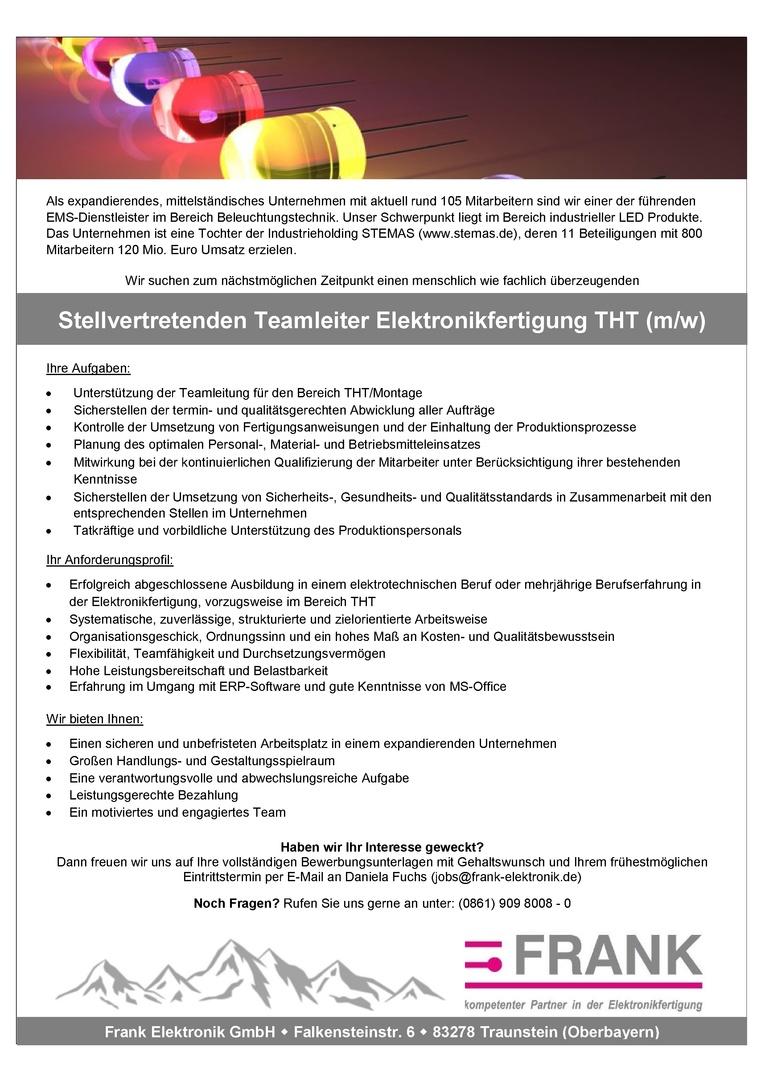 Stellvertretenden Teamleiter Elektronikfertigung THT (m/w)