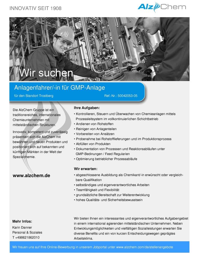 Anlagenfahrer/-in für GMP-Anlage