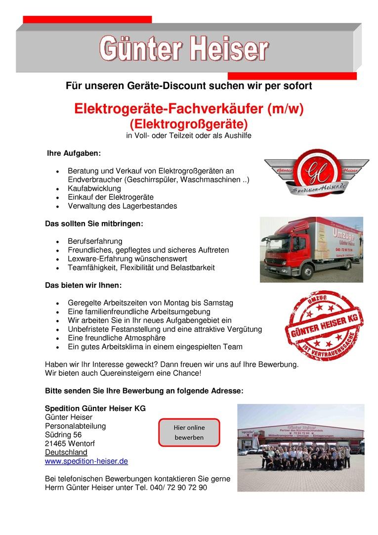 Elektrogeräte-Fachverkäufer (m/w)