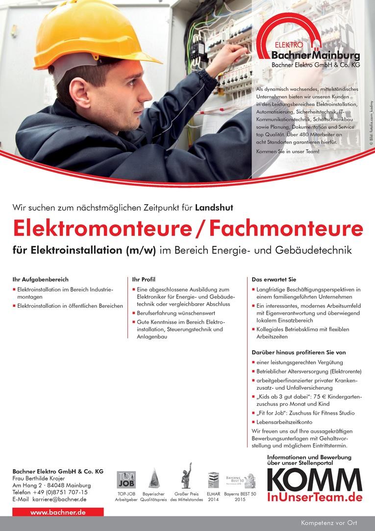 Elektromonteure/Fachmonteure für Elektroinstallation (m/w)