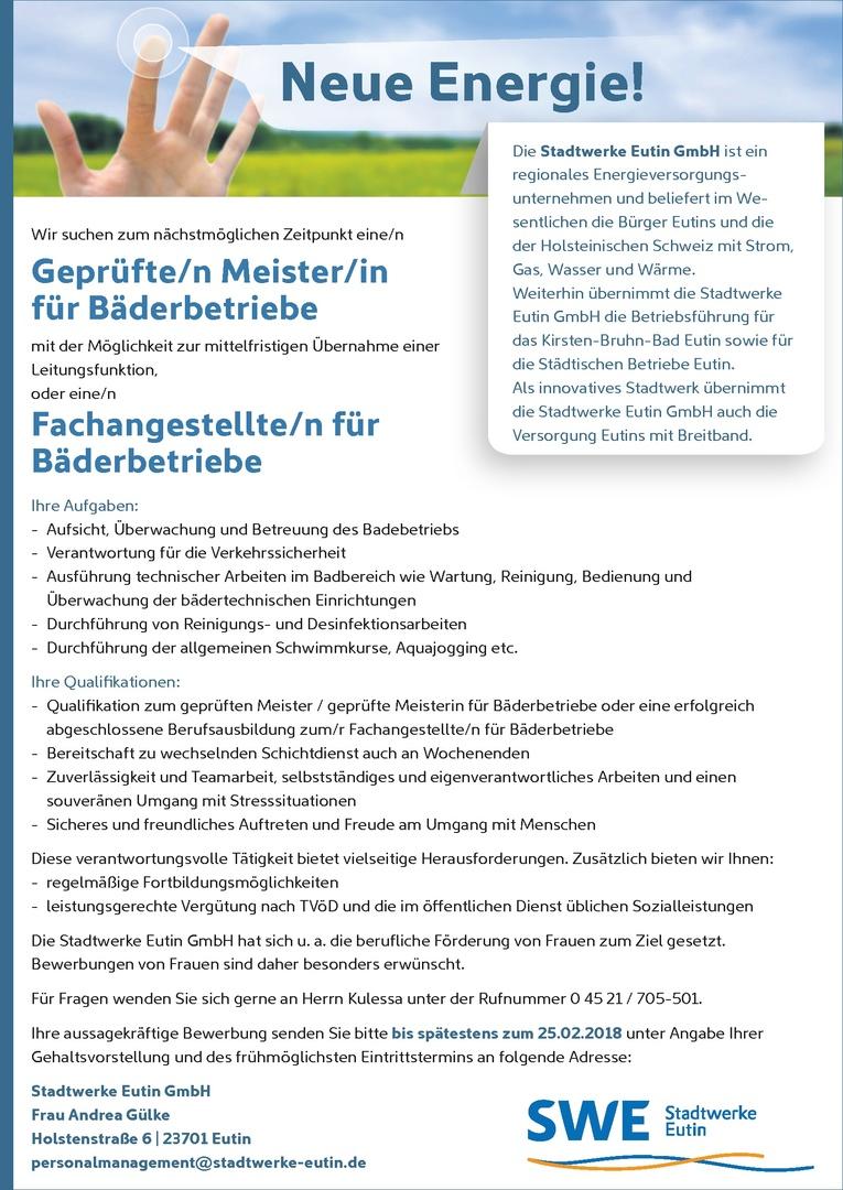 Geprüfte/n Meister/in für Bäderbetriebe