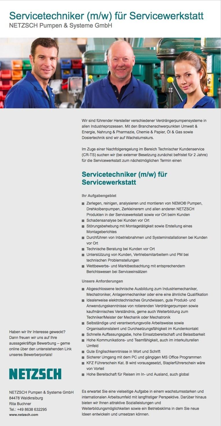 Servicetechniker (m/w) für Servicewerkstatt