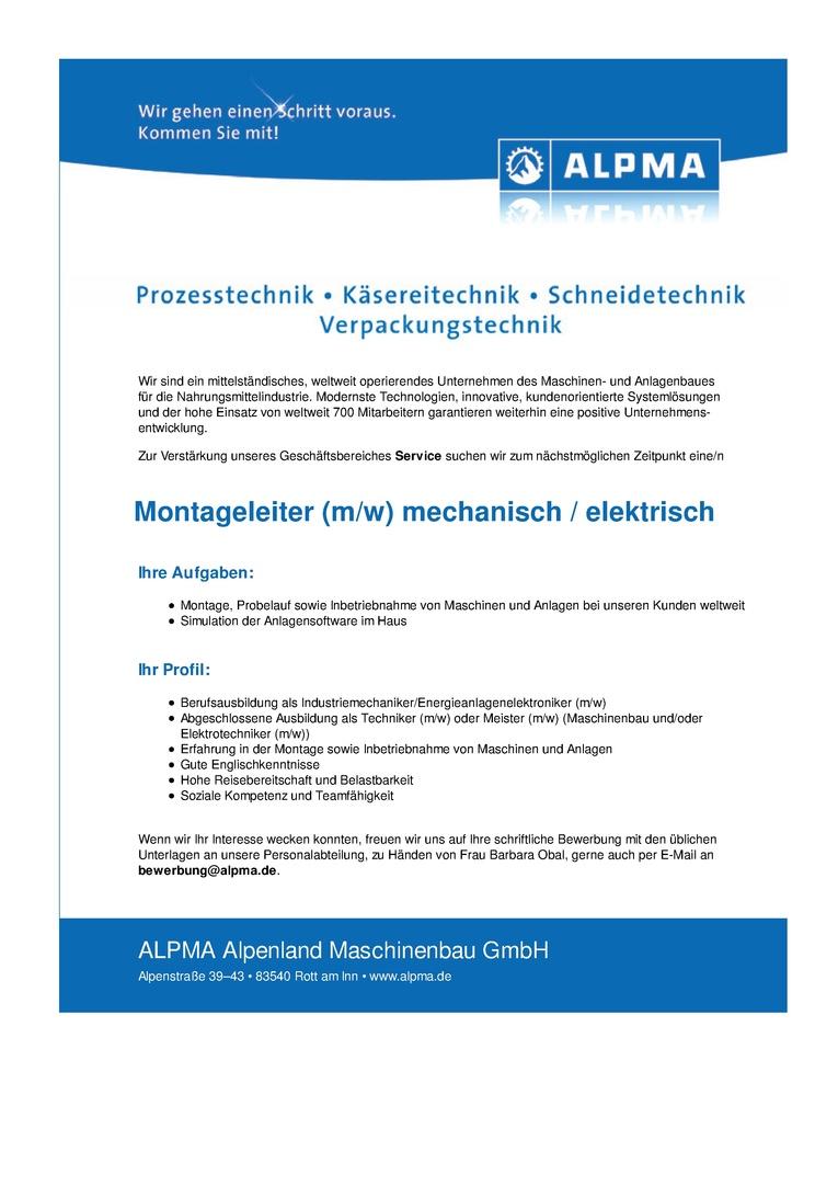 Montageleiter (m/w) mechanisch / elektrisch