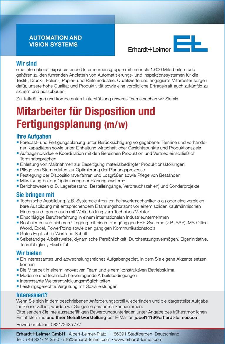 Mitarbeiter für Disposition und Fertigungsplanung (m / w)