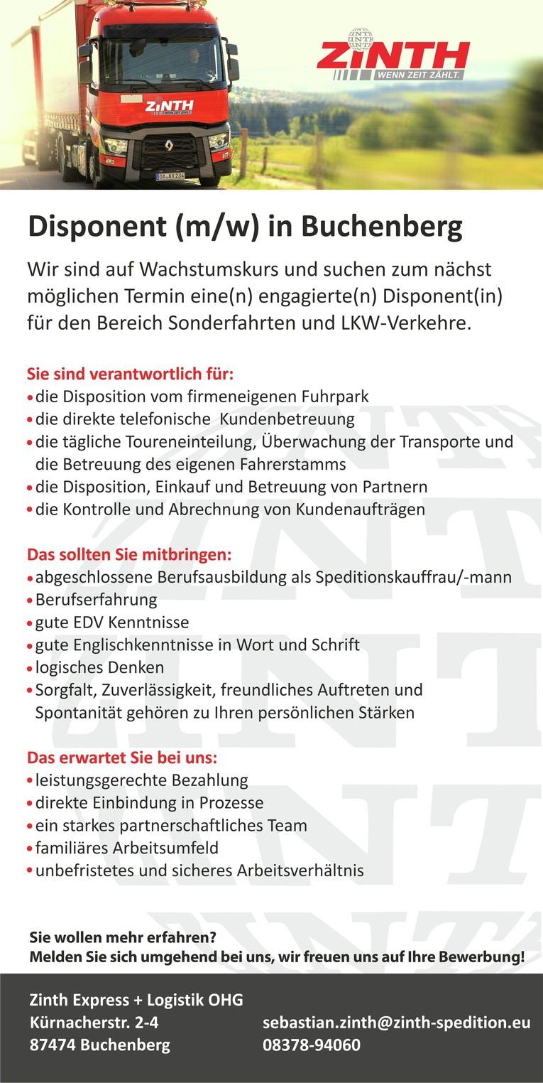 Disponent (m/w) in Buchenberg b. Kempten