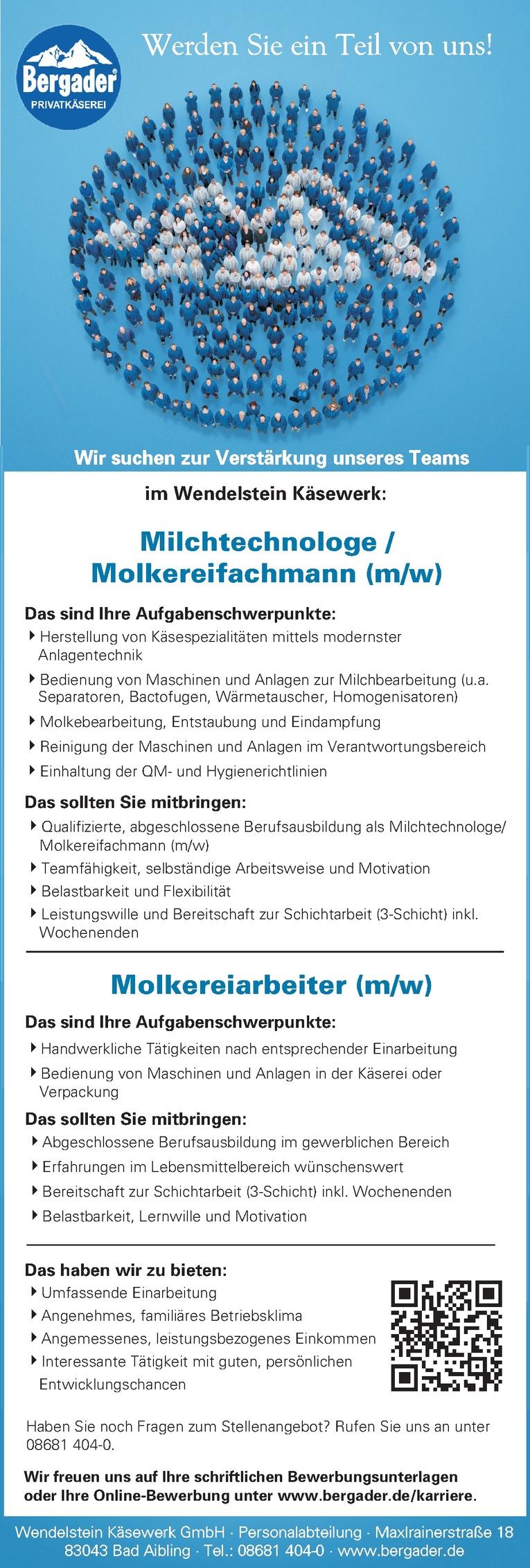 Milchtechnologe/Molkereifachmann (m/w)