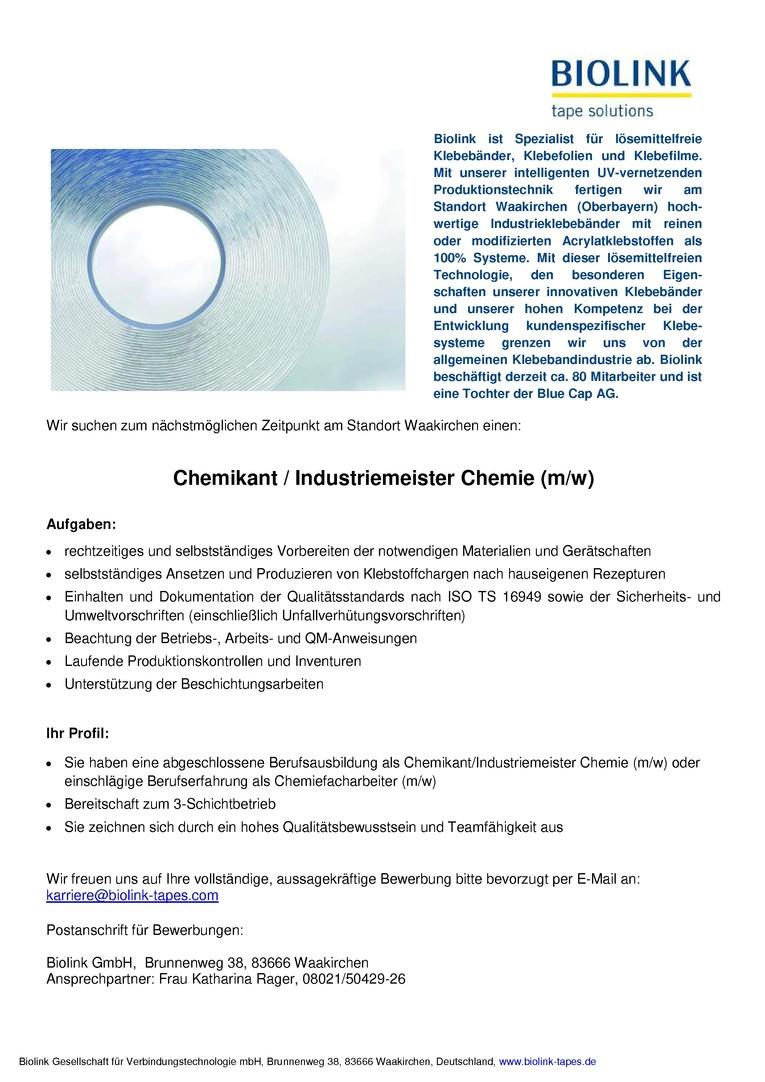 Chemikant / Industriemeister Chemie (m/w)