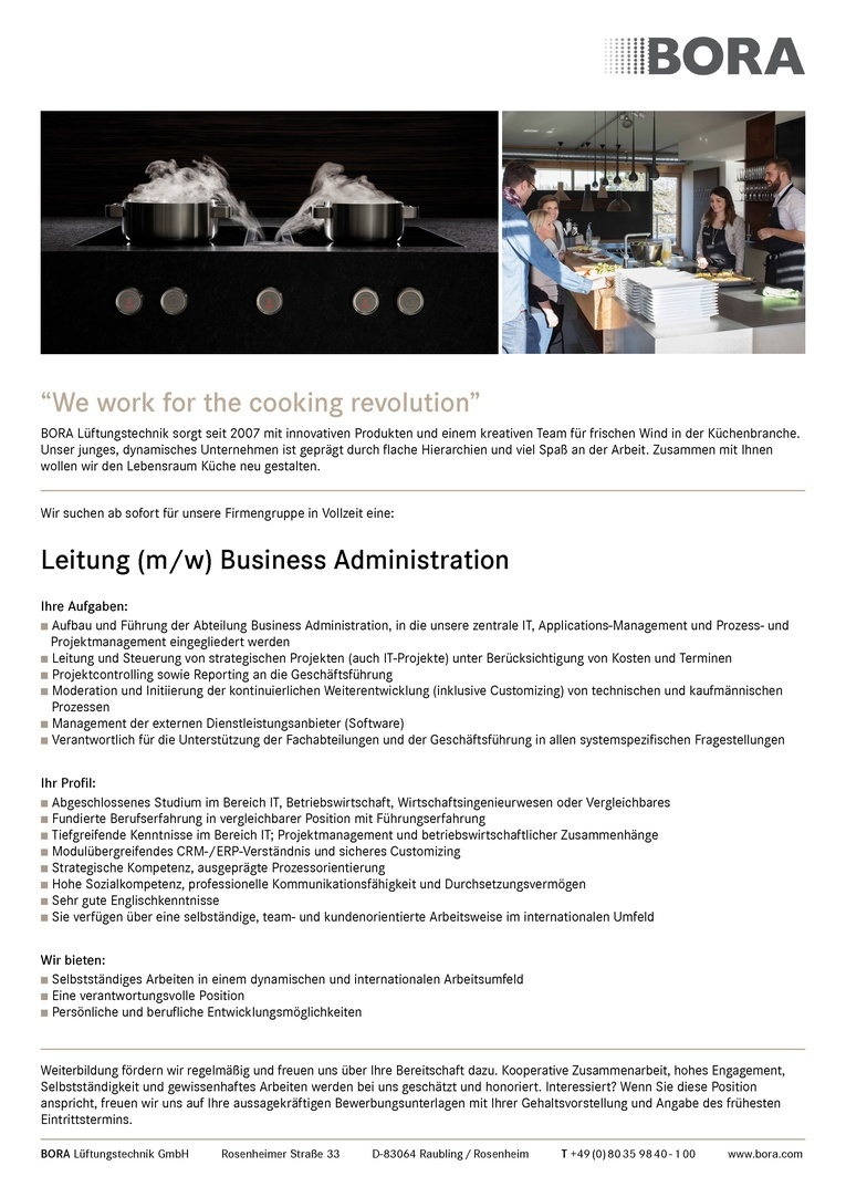 Leitung (m/w) Business Administration