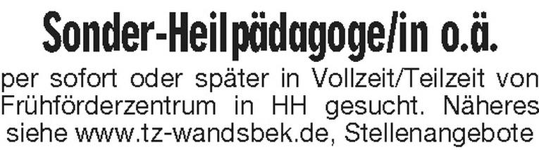 Sonder-Heilpädagoge/in o.ä.