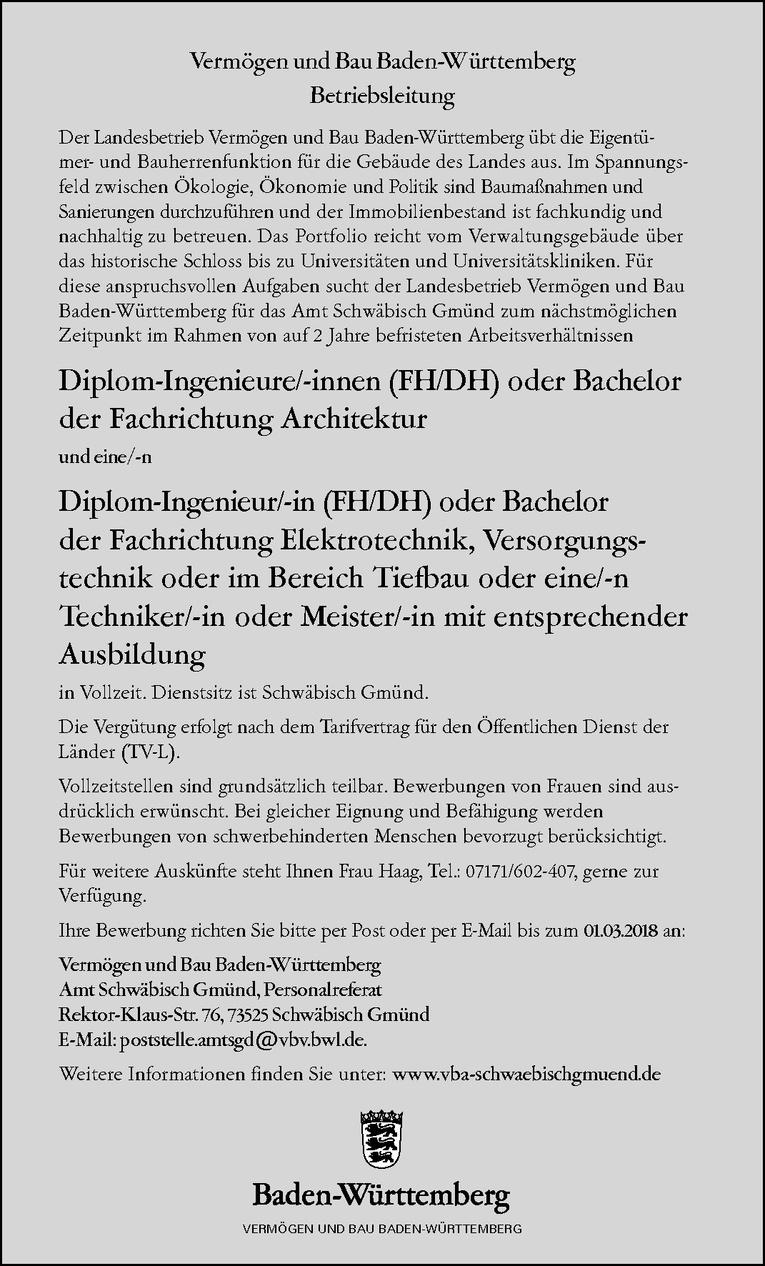 Diplom-Ingenieur/-in (FH/DH) oder Bachelor der Fachrichtung Elektrotechnik, Versorgungstechnik oder im Bereich Tiefbau oder eine/-n Techniker/-in oder