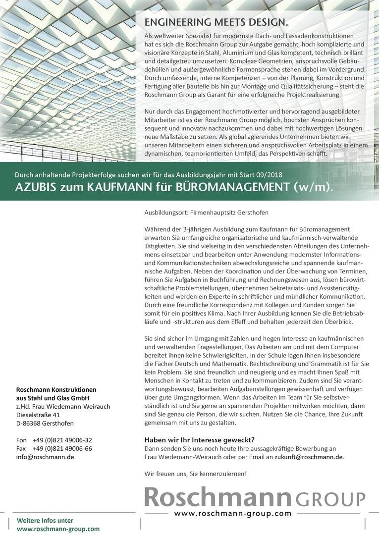 AZUBIS zum KAUFMANN für BÜROMANAGEMENT (w/m)