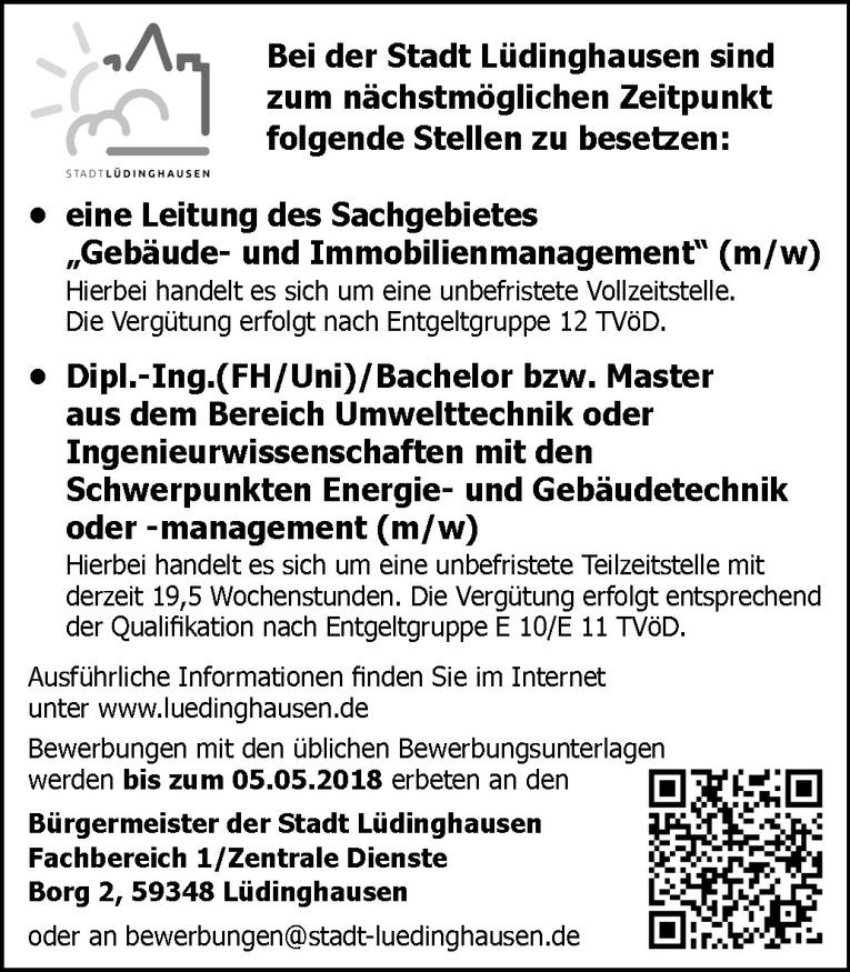 Dipl.-Ing.(FH/Uni)/Bachelor bzw. Master aus dem Bereich Umwelttechnik oder Ingenieurwissenschaften mit den Schwerpunkten Energie- und Gebäudetechnik o