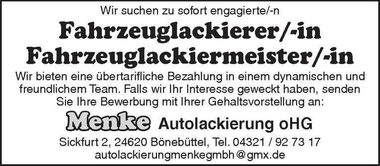 Fahrzeuglackierer/-in oder Fahrzeuglackiermeister/-in