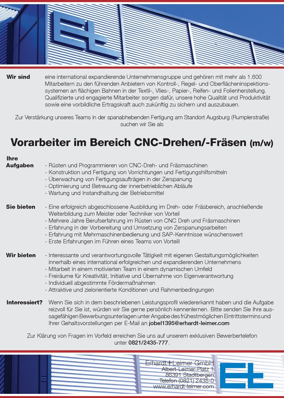 Vorarbeiter im Bereich CNC-Drehen/-Fräsen (m/w)
