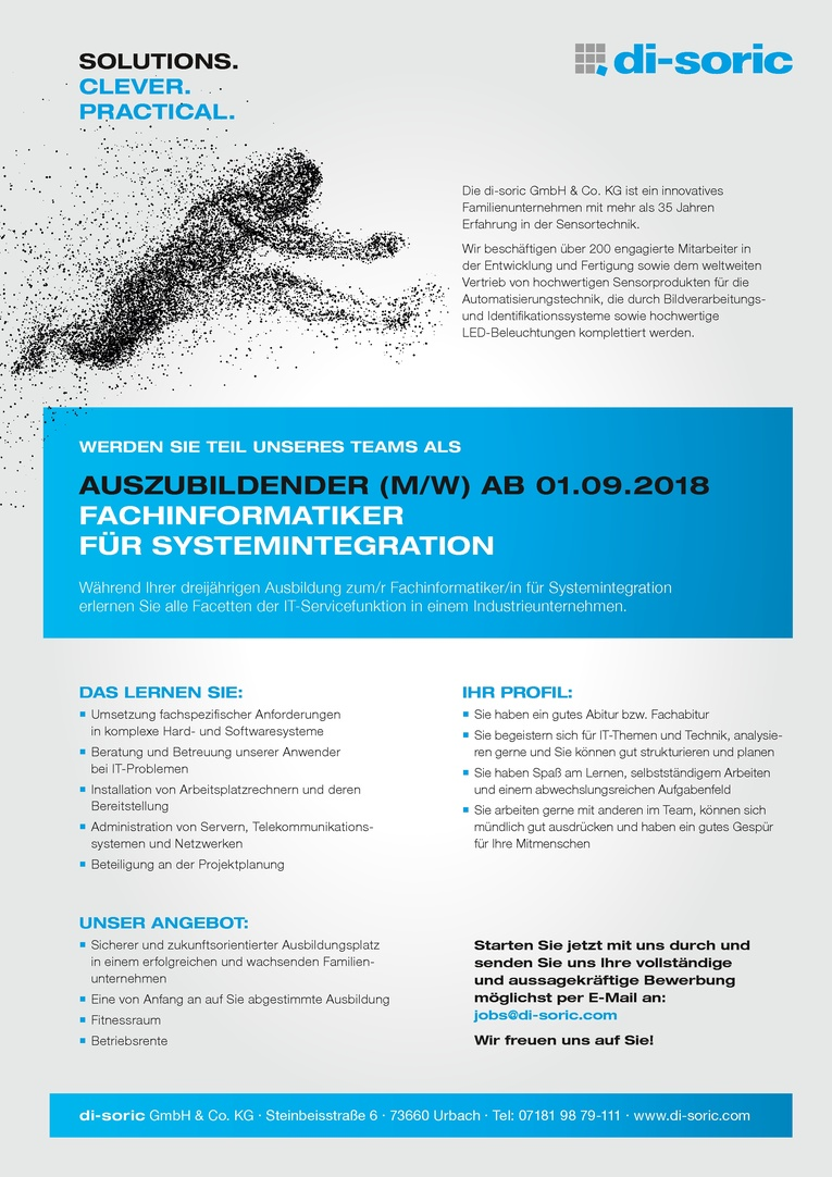 AUSZUBILDENDER (M/W) FACHINFORMATIKER FÜR SYSTEMINTEGRATION