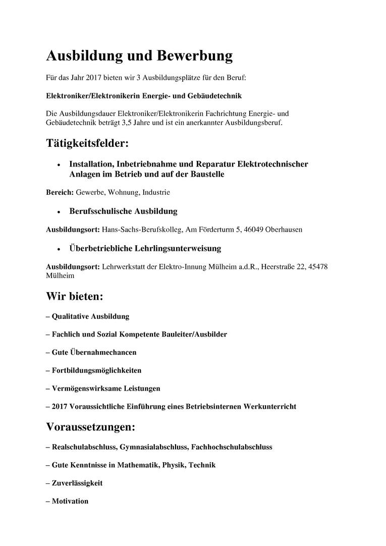 Ausbildung Elektroniker/Elektronikerin Energie- und Gebäudetechnik