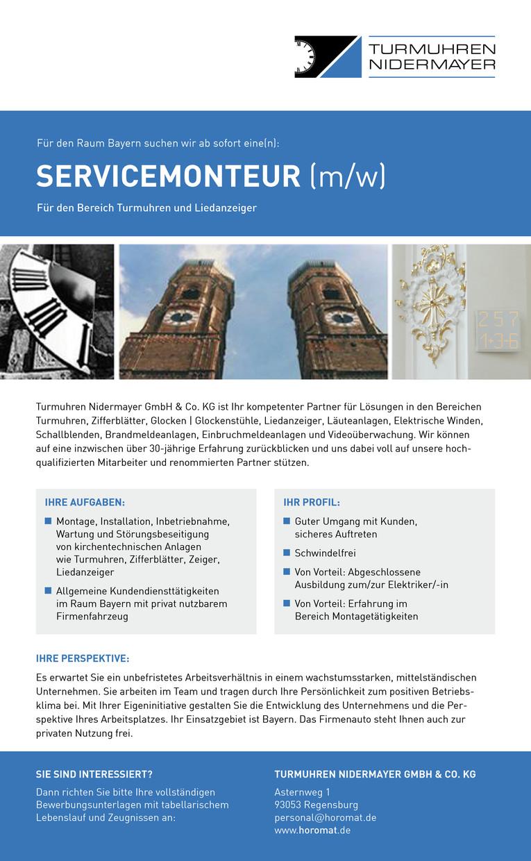 Servicemonteur (m/w) für den Bereich Turmuhren und Liedanzeiger im Raum Bayern