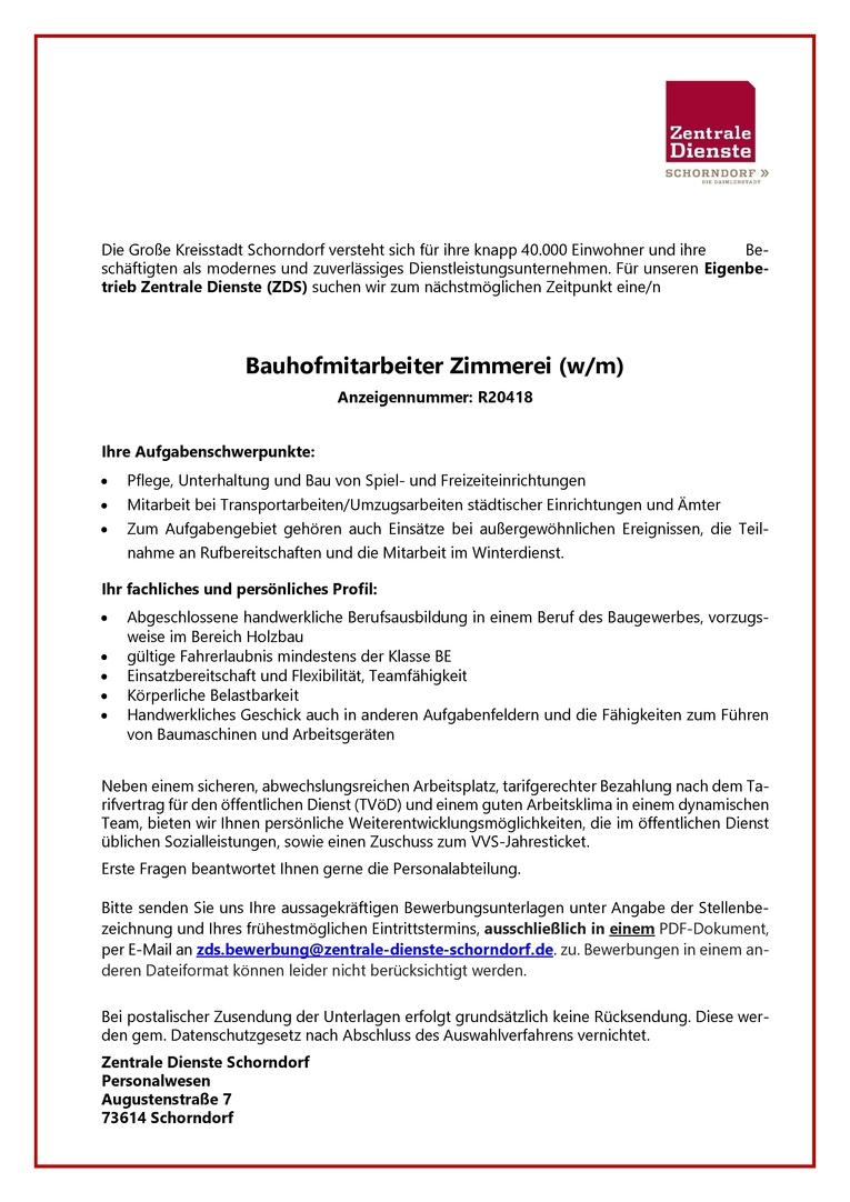 Bauhofmitarbeiter Zimmerei (w/m) R20418