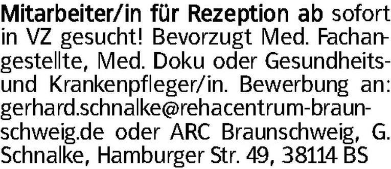Mitarbeiter für Rezeption (m/w)