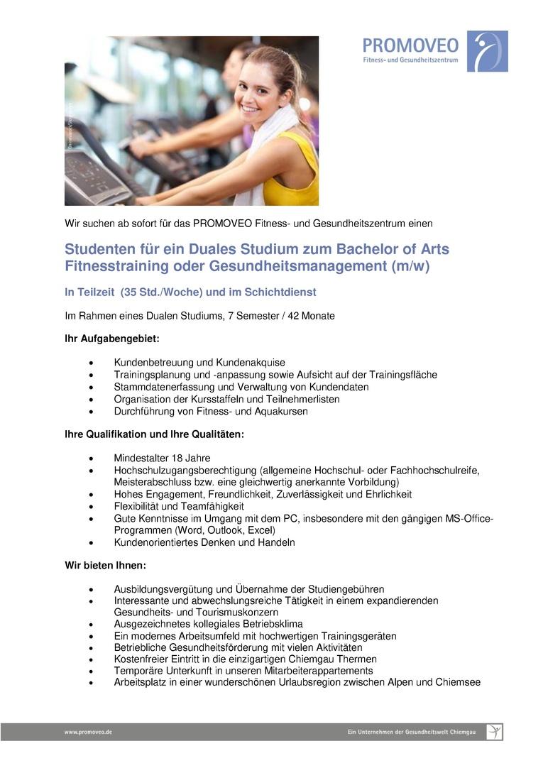 Studenten für ein Duales Studium zum Bachelor of Arts Fitnesstraining oder Gesundheitsmanagement (m/w)