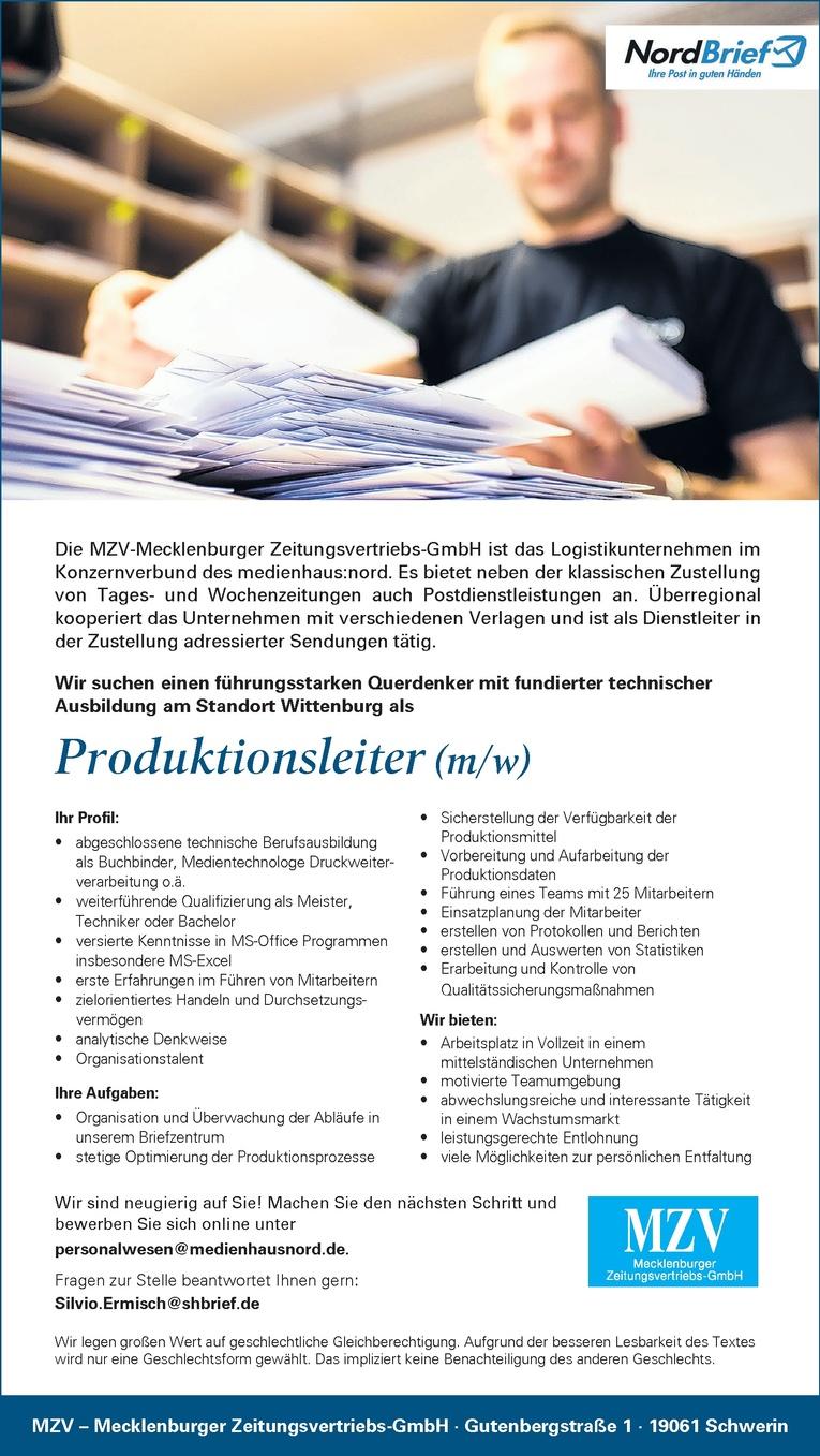 Produktionsleiter (m/w)