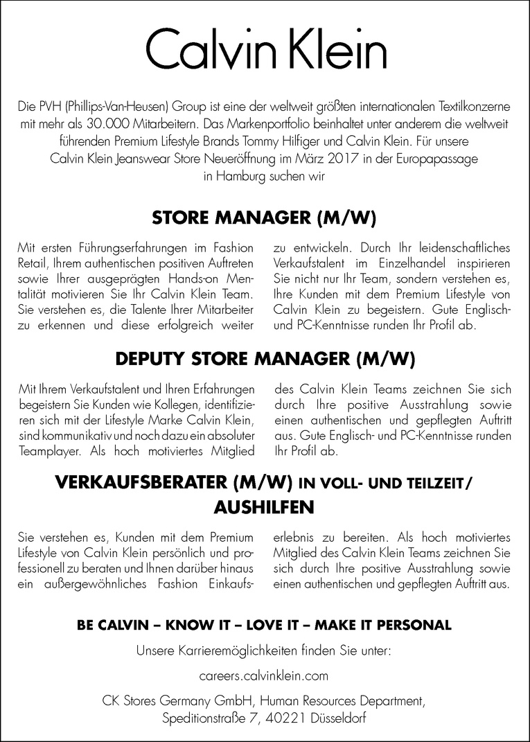 DEPUTY STORE MANAGER (M/W)