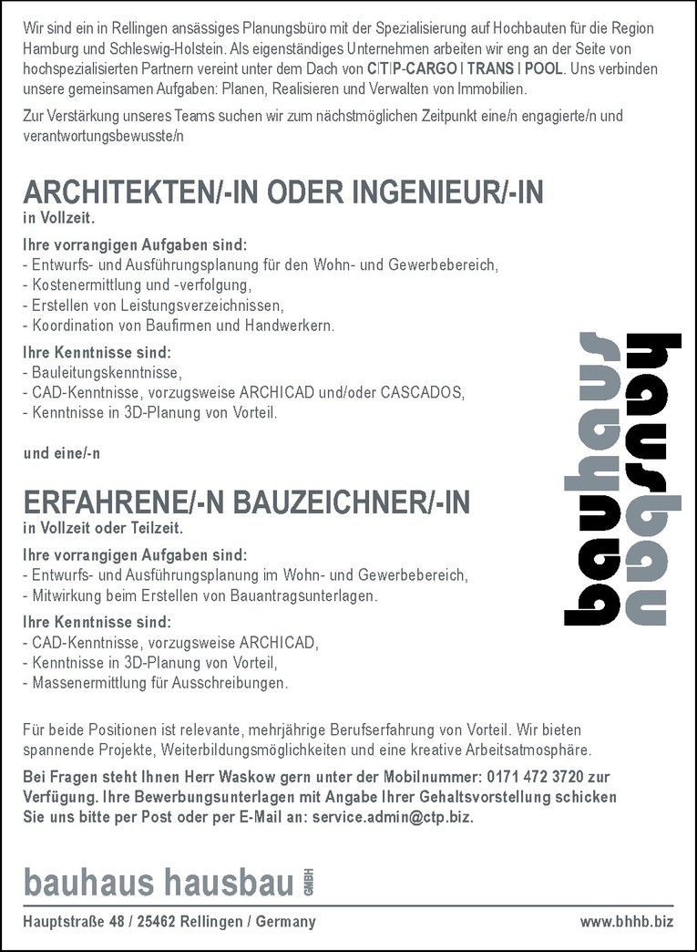 ARCHITEKTEN/-IN ODER INGENIEUR/-IN