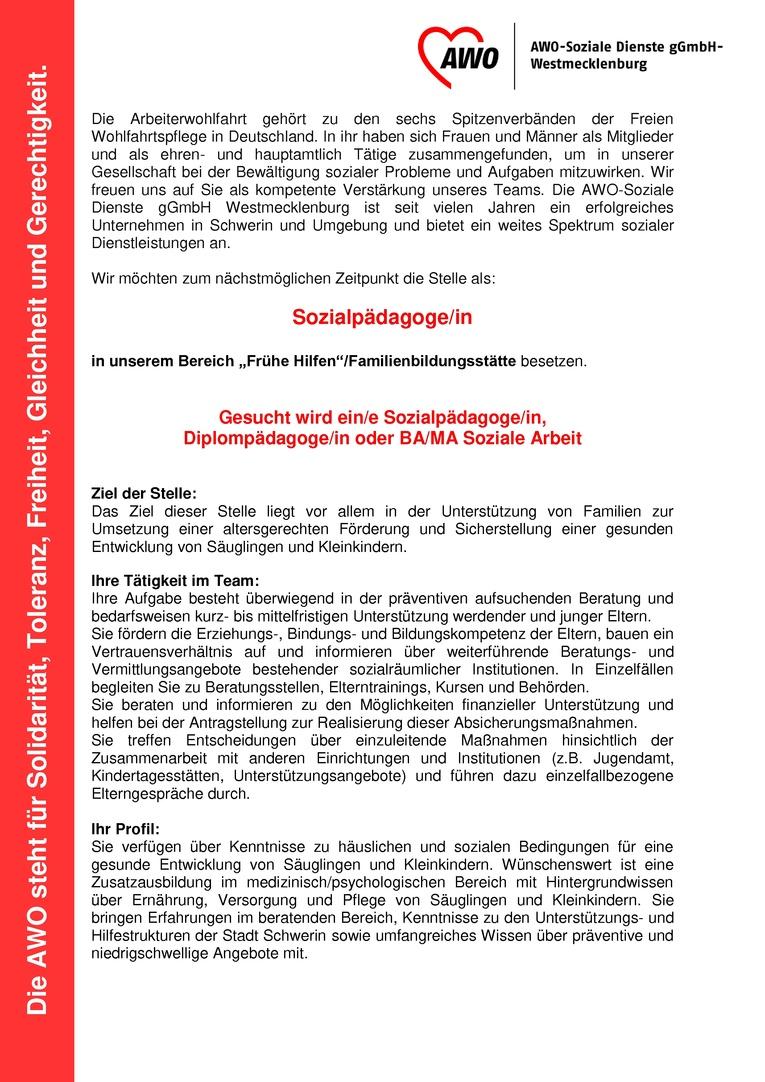 """Sozialpädagoge/in im Bereich """"Frühe Hilfen""""/Familienbildungsstätte"""