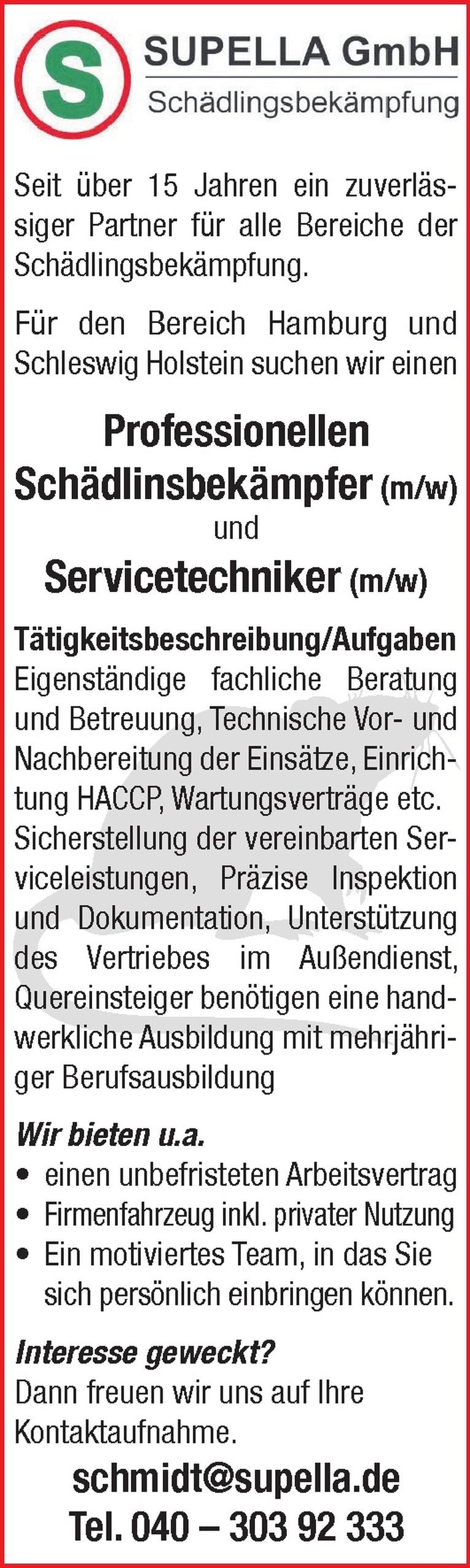Schädlinsbekämpfer (m/w)