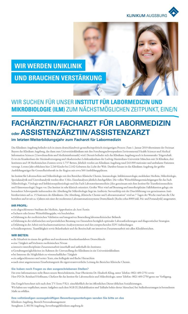 Fachärztin/Facharzt für Labormedizin und Mikrobiologie (ILM) oder Assistenzärztin/Assistenzarzt i. letzten Weiterbildungsjahr zum Facharzt für Labormedizin
