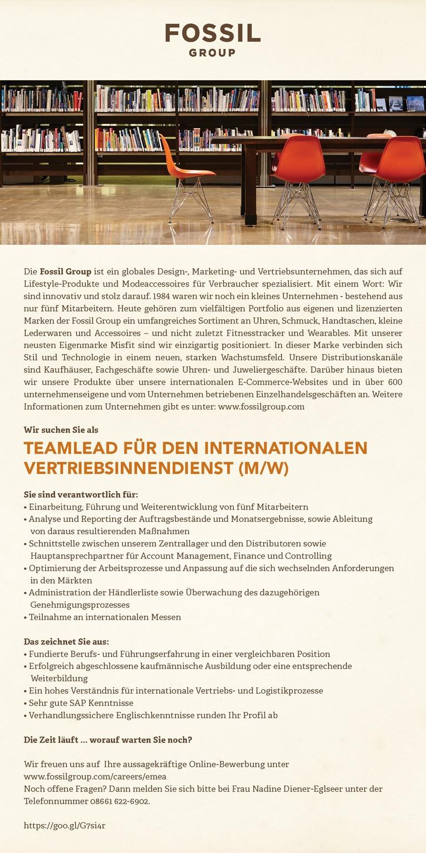 Teamleiter für den internationalen Vertriebsinnendienst (m/w)