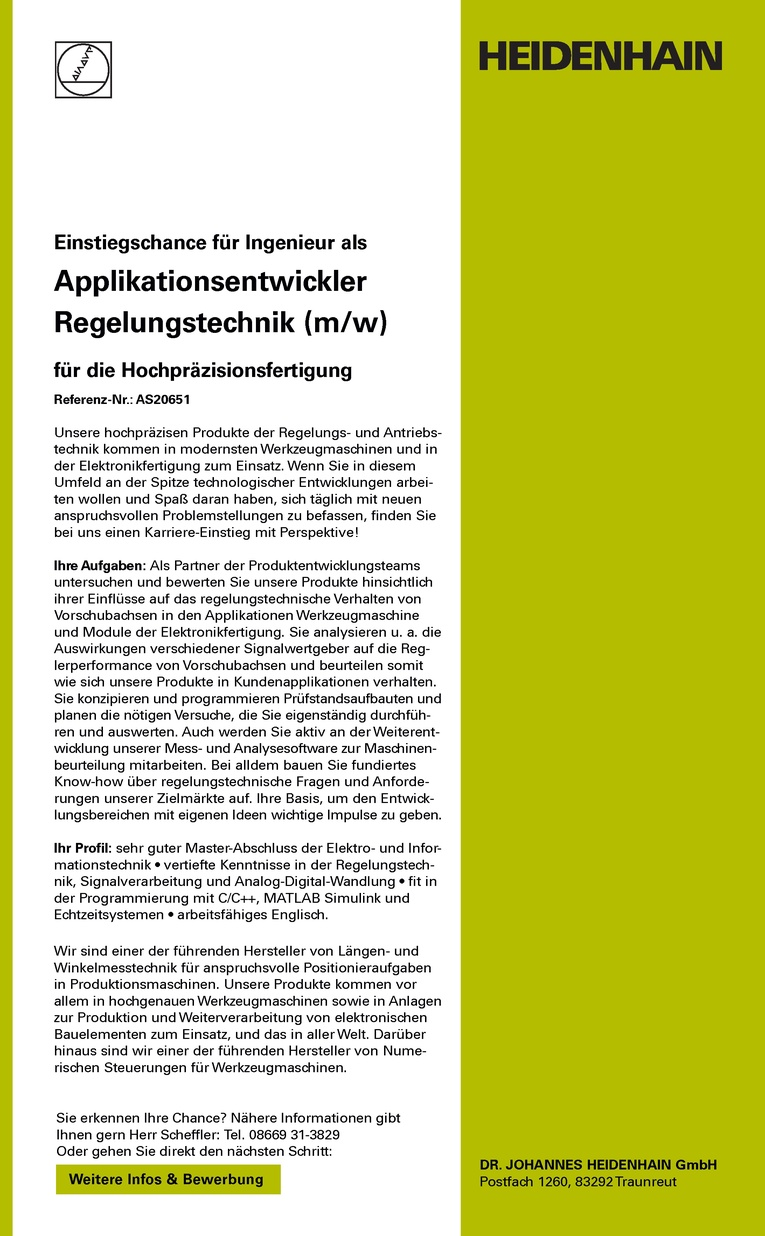 Applikationsentwickler Regelungstechnik (m/w)