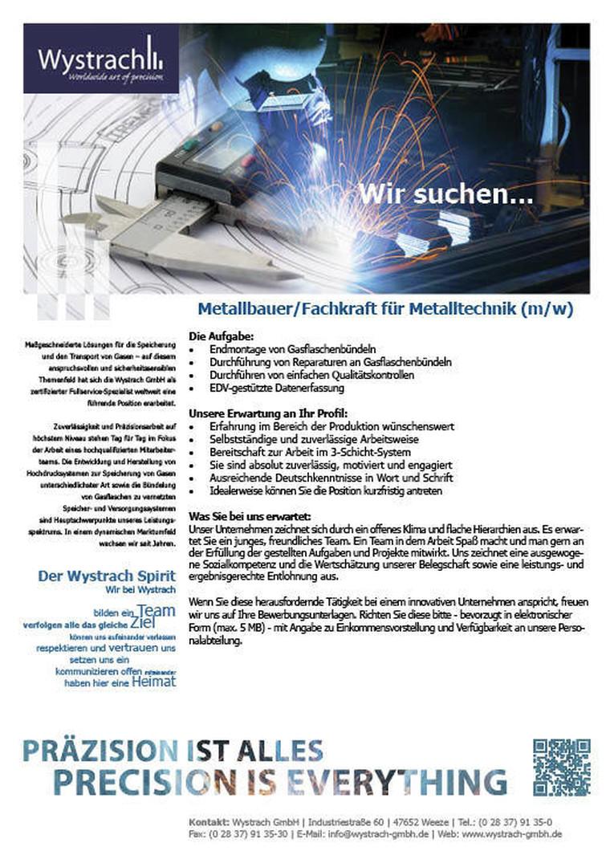 Wir suchen Metallbauer/Fachkraft für Metalltechnik (m/w)