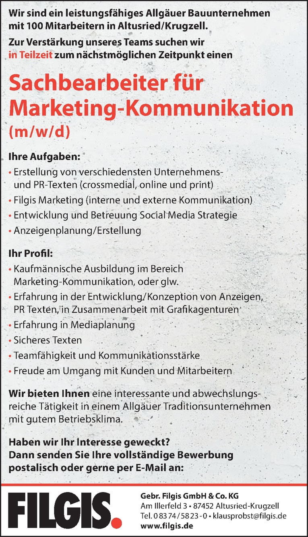 Job Sachbearbeiter Für Marketing Kommunikation M W D