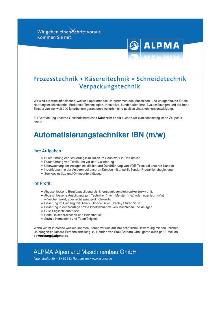 Automatisierungstechniker IBN (m/w)