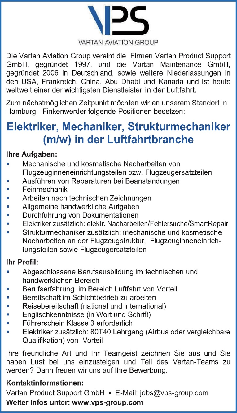 Elektriker, Mechaniker, Strukturmechaniker (m/w) in der Luftfahrtbranche