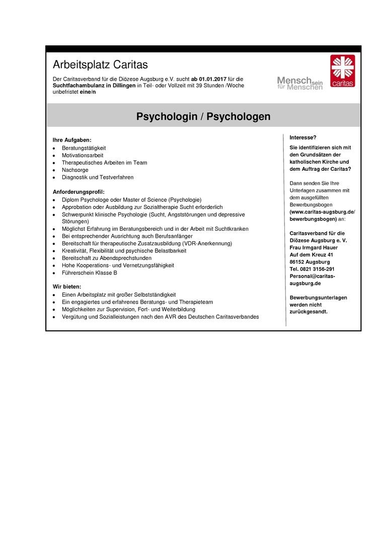 Psychologe/Psychologin für die Suchtfachambulanz