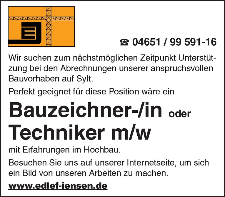 Bauzeichner-/in oder Techniker m/w