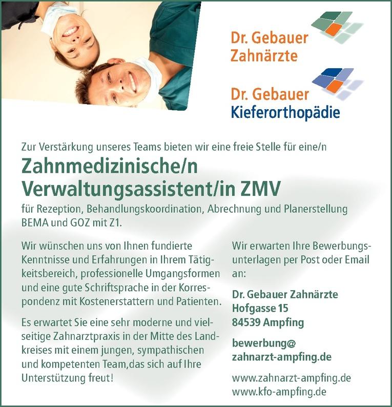 Zahnmedizinische/n Verwaltungsassistent/in ZMV oder erfahrene ZFA