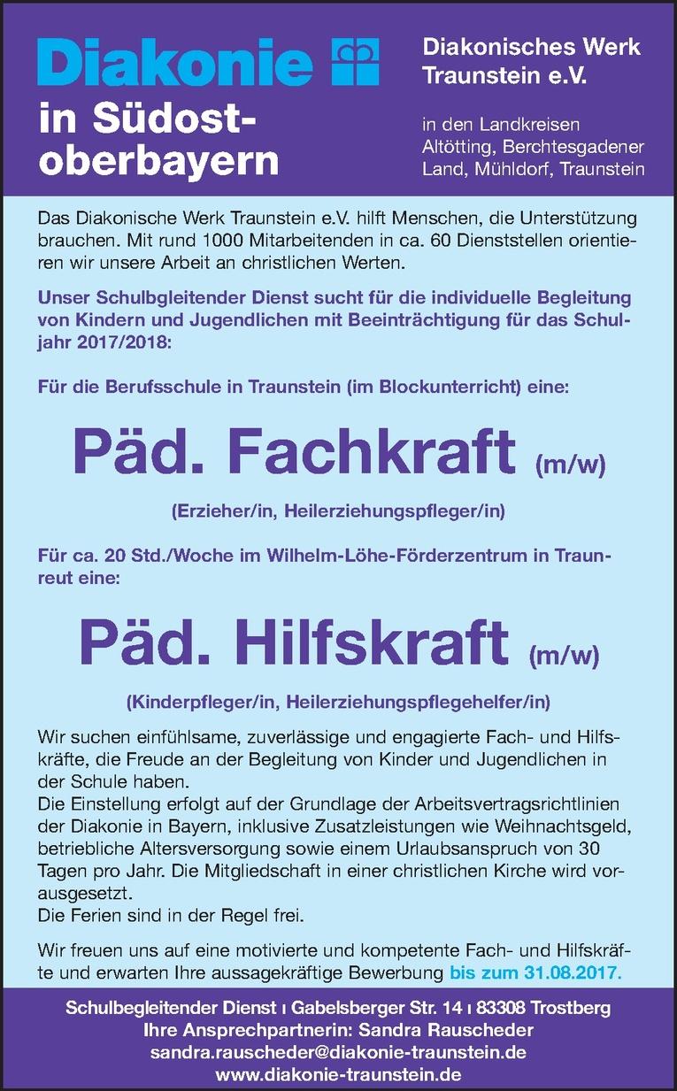 Pädagogische Fachkraft (m/w) in Traunstein und pädagogische Hilfskraft (m/w) in Traunreut