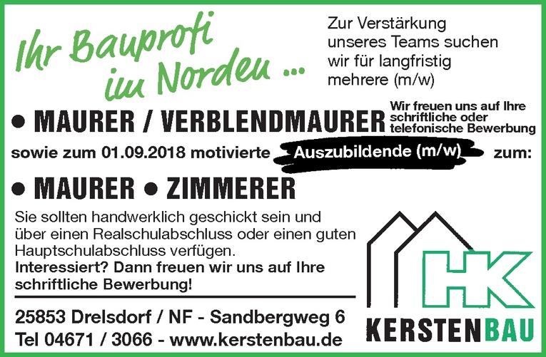 Ausbildung: Mauer/ Zimmer (m/w)