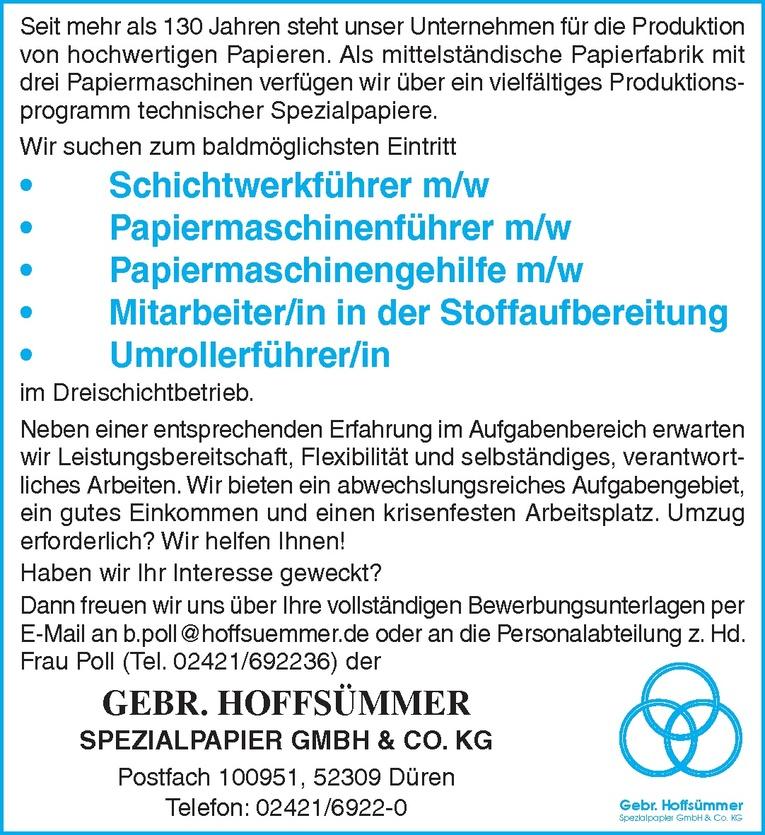 Papiermaschinenführer m/w