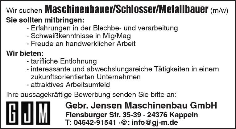 Maschinenbauer/Schlosser/Metallbauer (m/w)