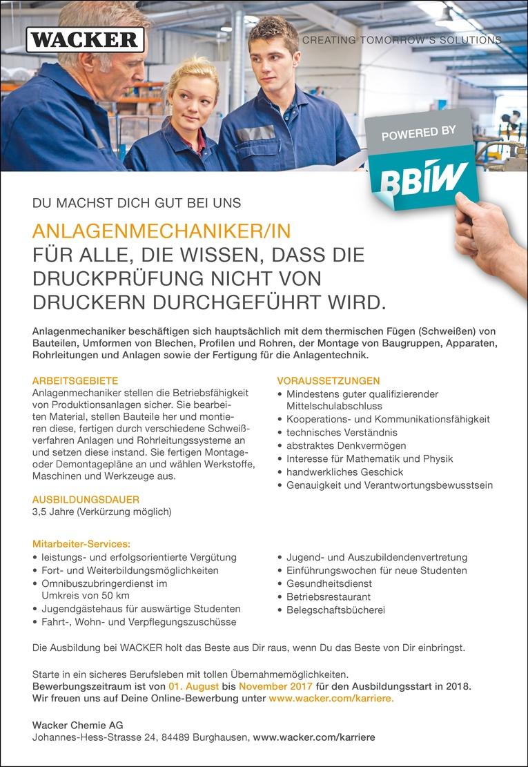 Ausbildung als Anlagenmechaniker/in