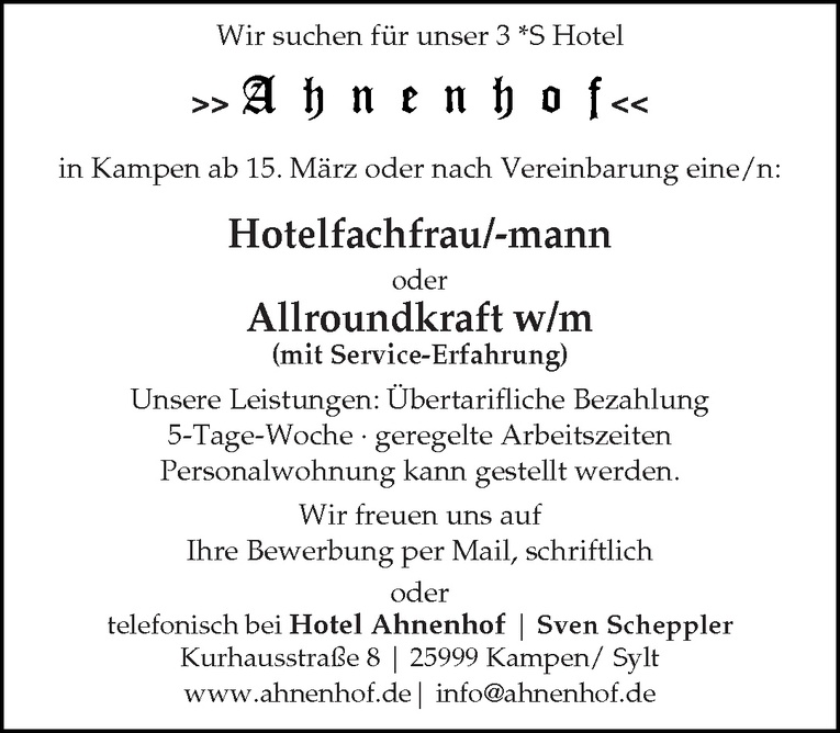 Hotelfachfrau/-mann