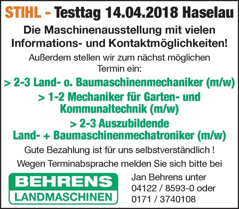 Auszubildende Land- + Baumaschinenmechatroniker (m/w)
