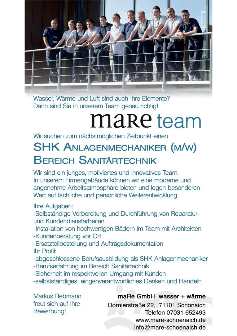 SHK Anlagenmechaniker (m/w) Bereich Sanitärtechnik
