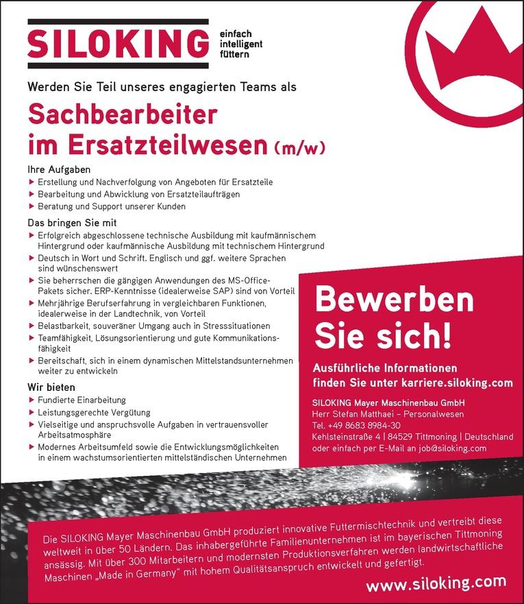 Sachbearbeiter im Ersatzteilwesen (m/w)